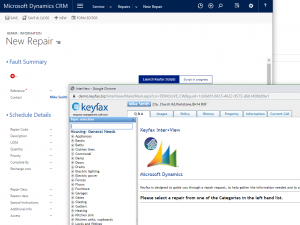 launching a repair for Keyfax from Dynamics CRM